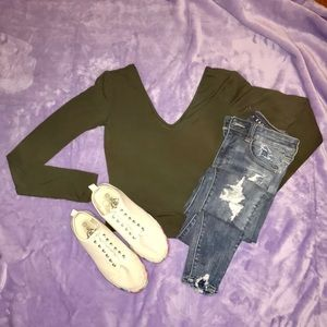 Express Cropped Olive Green Tee XS NWT